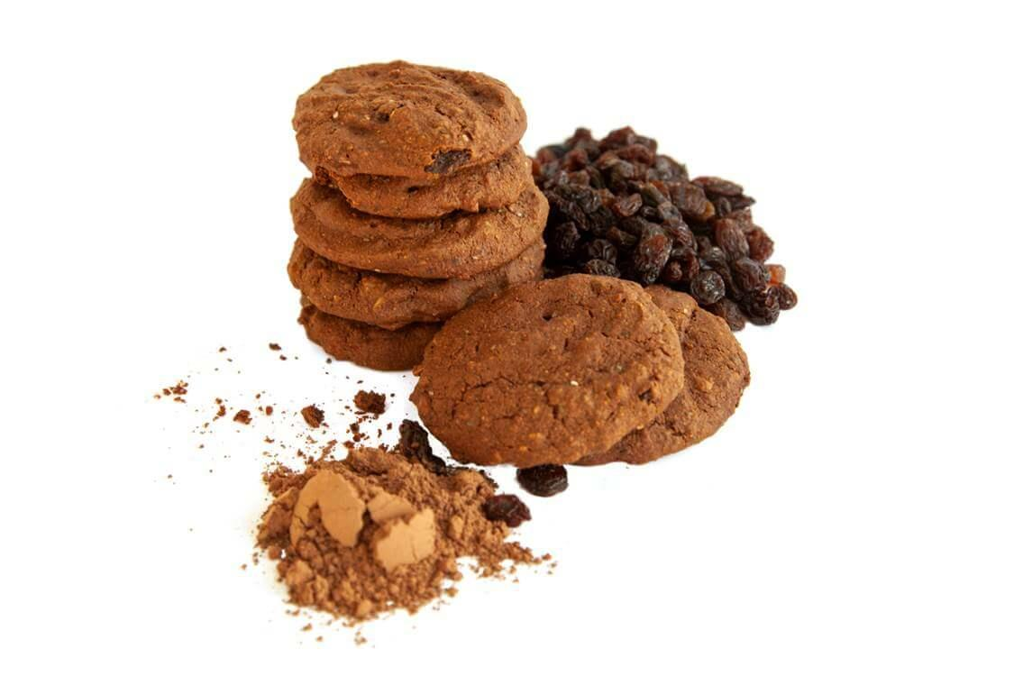baked chocolate cookies with teff grains