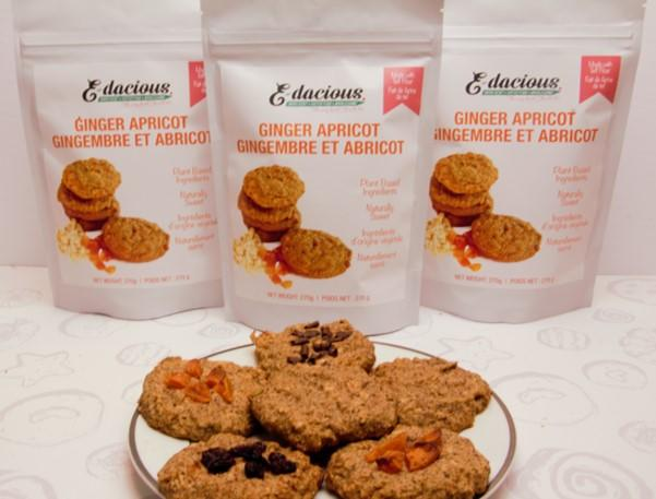ginger apricot cookies package and baked cookies