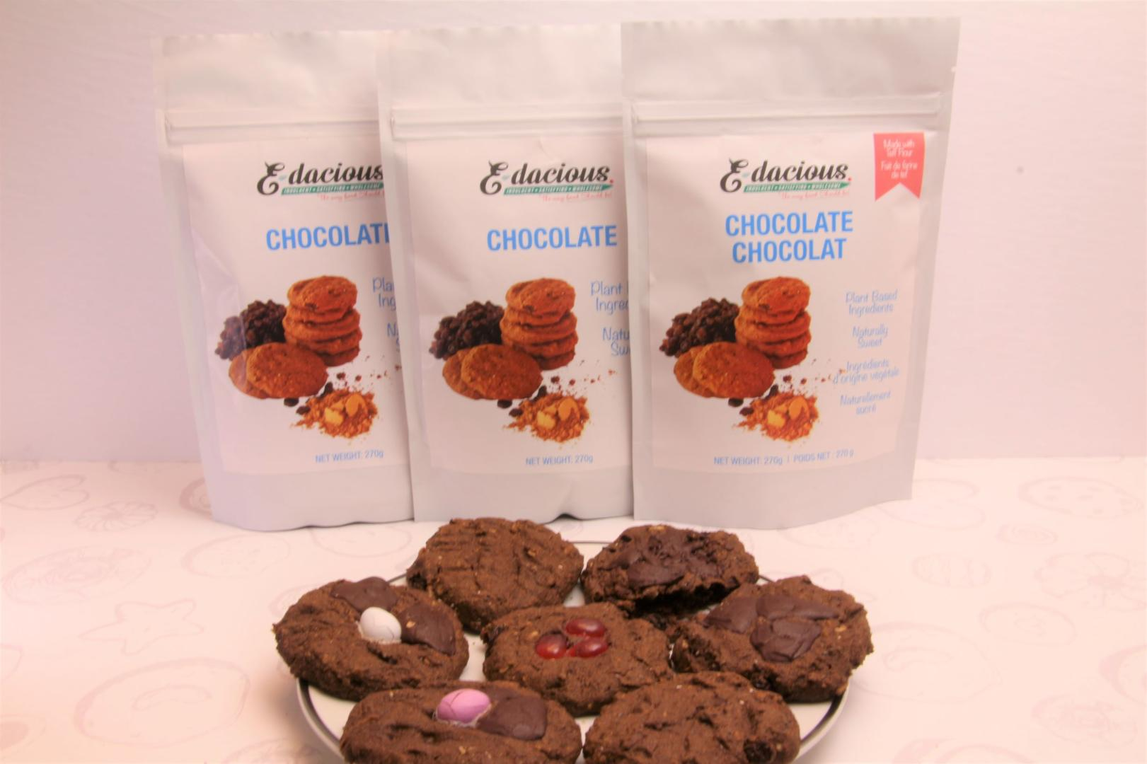 packages of chocolate cookie premix